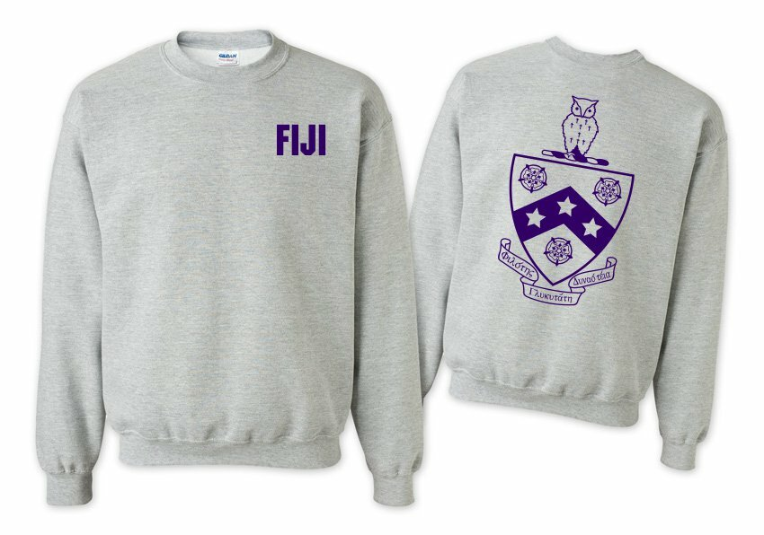 FIJI Fraternity World Famous Crest - Shield Printed Crewneck Sweatshirt- $25!