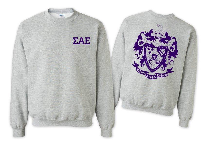 Sigma Alpha Epsilon World Famous Crest - Shield Printed Crewneck Sweatshirt- $25!