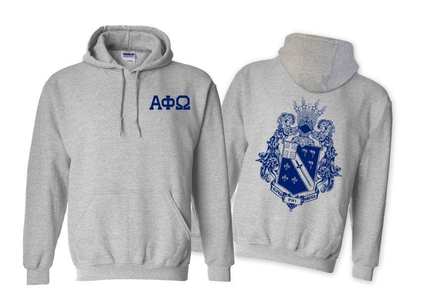Alpha Phi Omega World Famous Crest - Shield Hooded Sweatshirt- $35!