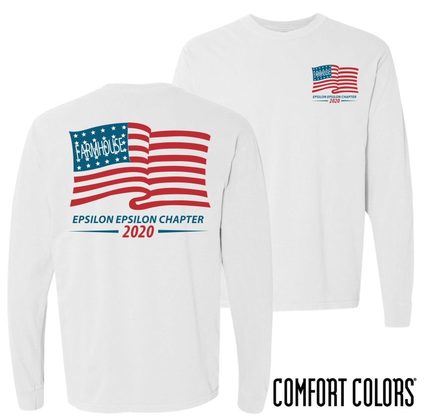 FarmHouse Fraternity Old Glory Long Sleeve T-shirt - Comfort Colors