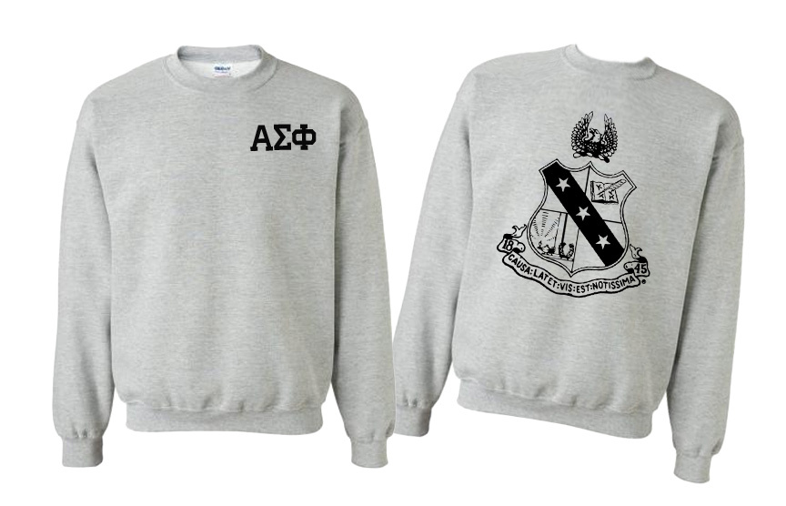 Alpha Sigma Phi World Famous Crest - Shield Printed Crewneck Sweatshirt- $25!
