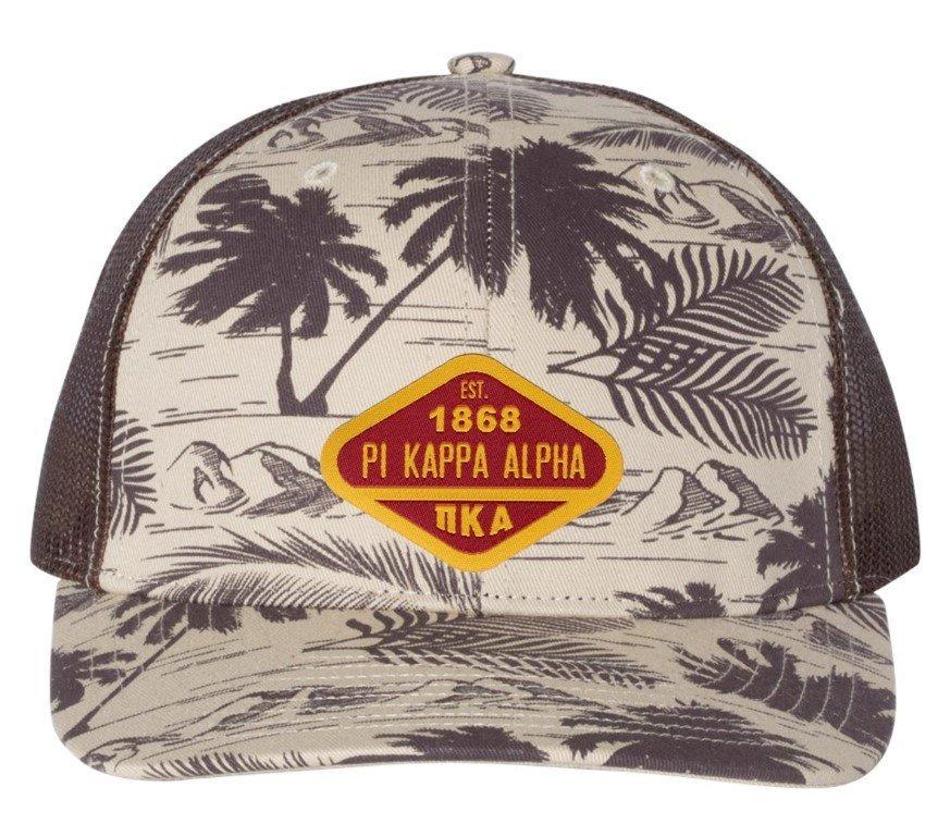 Pi Kappa Alpha Island Print Snapback Trucker Cap - CLOSEOUT