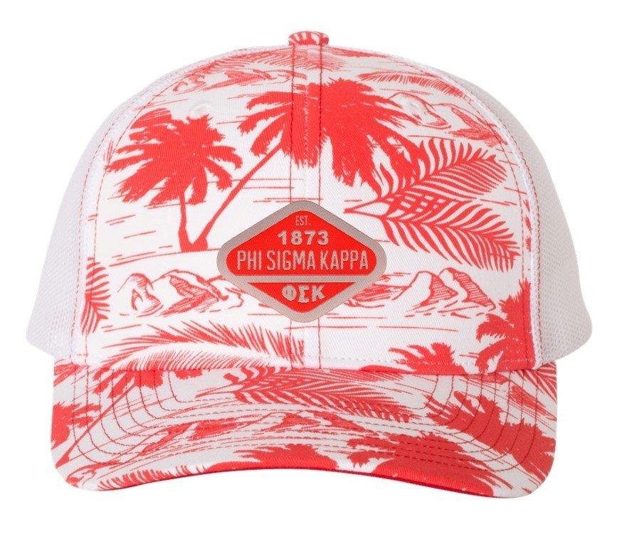 Phi Sigma Kappa Island Print Snapback Trucker Cap - CLOSEOUT