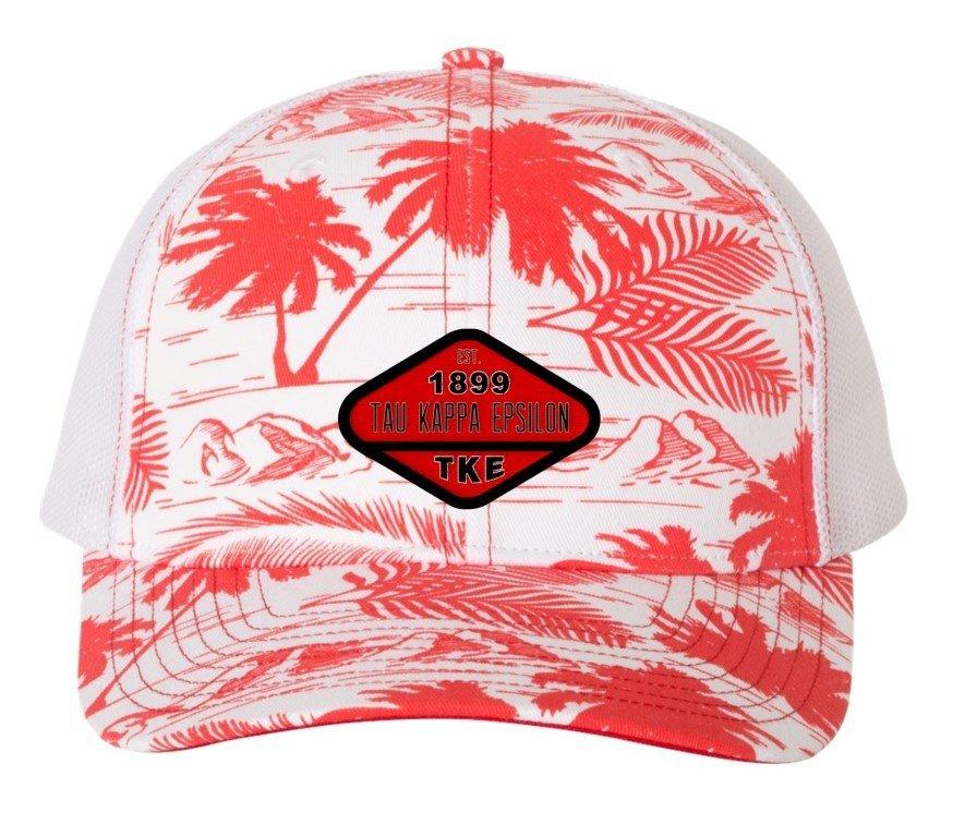 Tau Kappa Epsilon Island Print Snapback Trucker Cap - CLOSEOUT