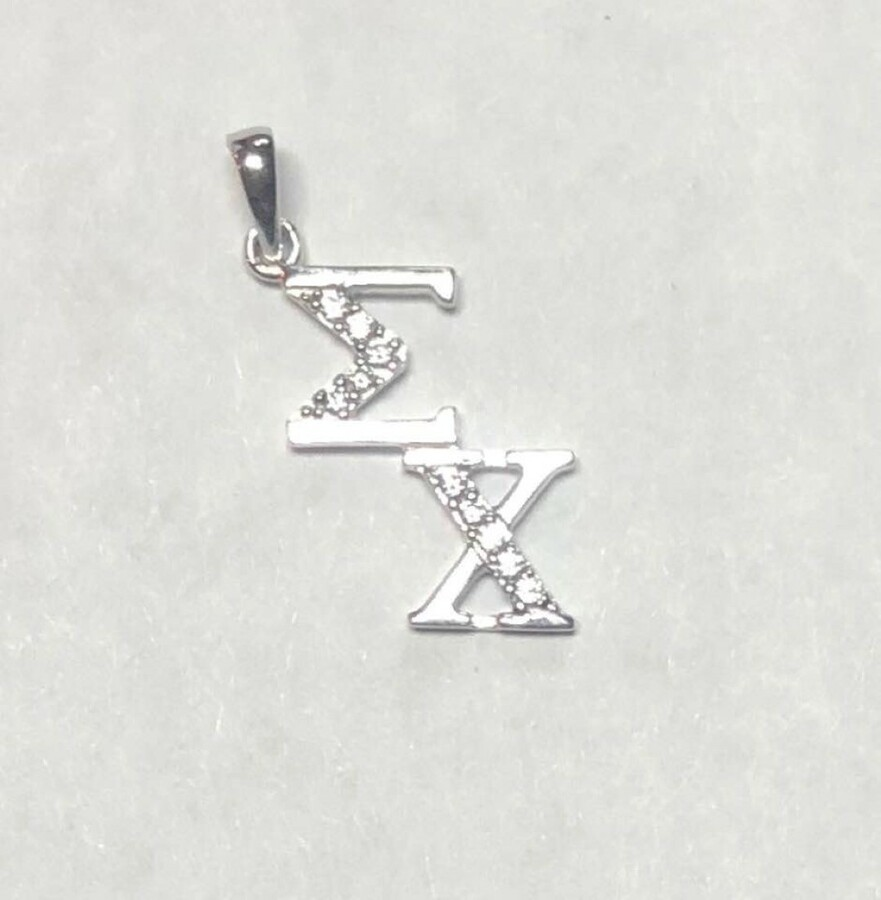 Super Savings - Sigma Chi Sterling Silver Diagonal Lavaliere set with Lab-Created Diamonds - SILVER 1 of 2