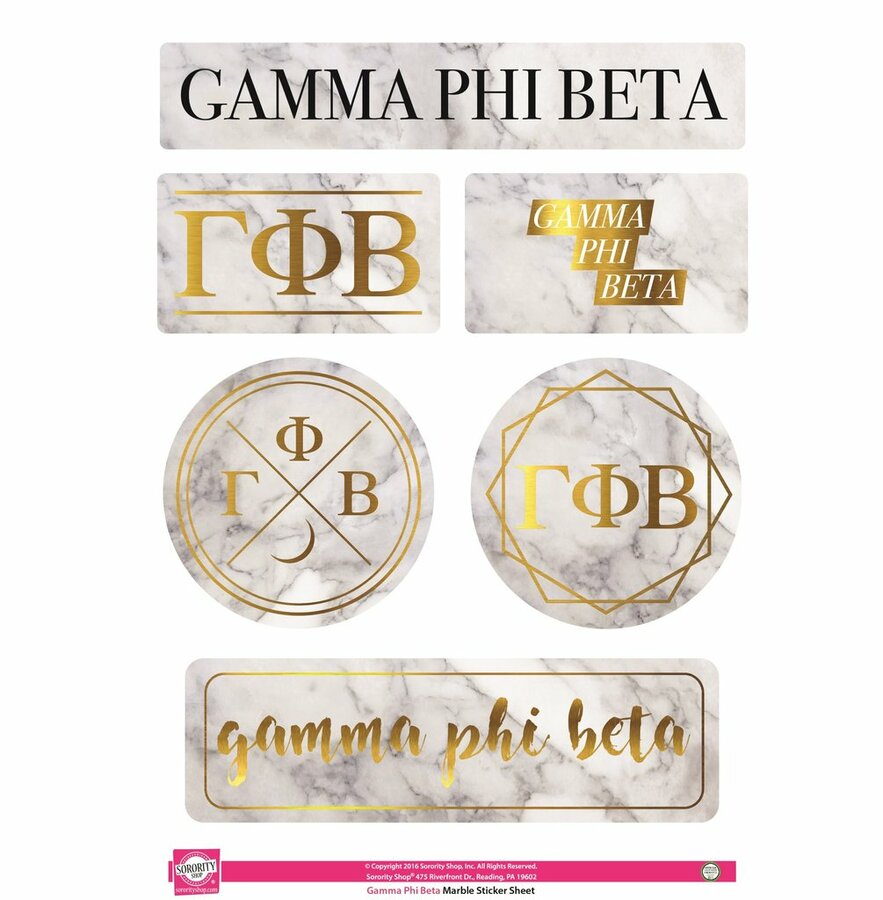 Gamma Phi Beta Marble Sticker Sheet