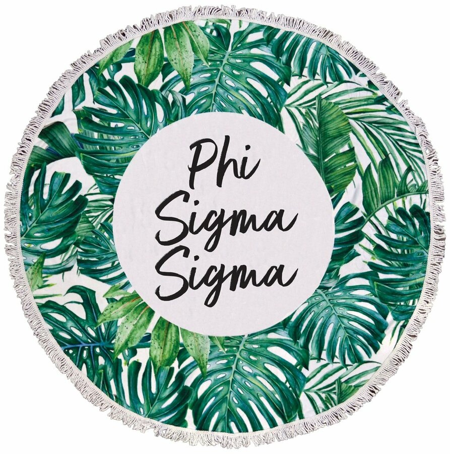 Phi Sigma Sigma Palm Leaf Fringe Towel Blanket