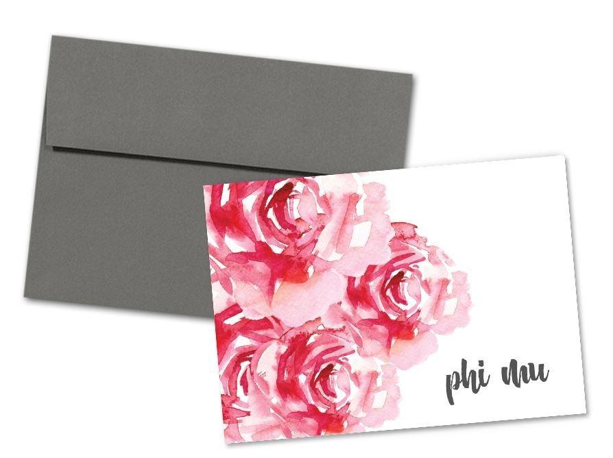 Phi Mu Floral Script Notecards(6)
