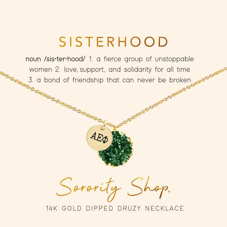 Alpha Epsilon Phi Sisterhood Druzy Necklace