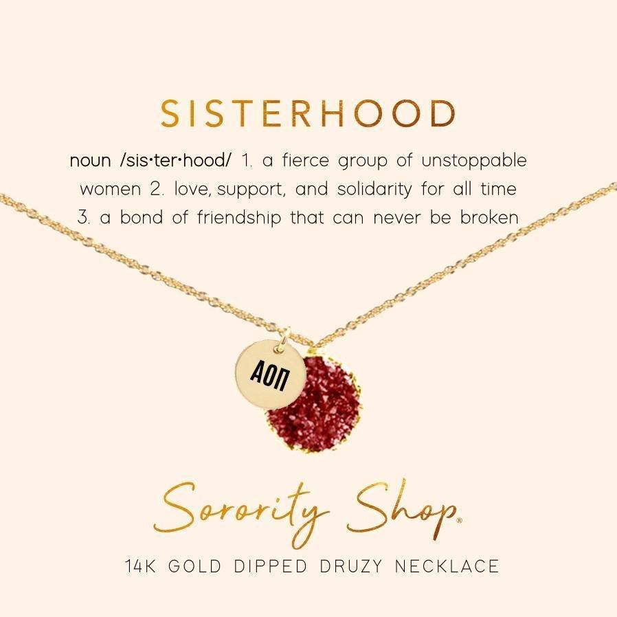 Alpha Omicron Pi Sisterhood Druzy Necklace