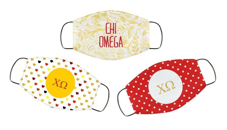 Chi Omega Face Mask Trio Set