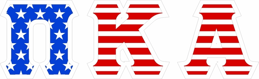 "Pi Kappa Alpha Giant 4"" American Flag Greek Letter Sticker"