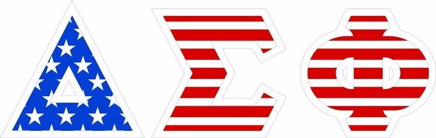 "Delta Sigma Phi Giant 4"" American Flag Greek Letter Sticker"