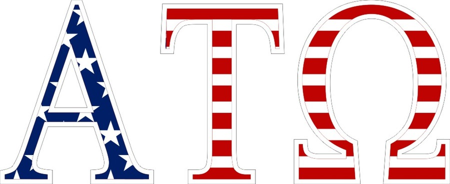 "American Flag Greek Letter Sticker - 2.5"" Tall"