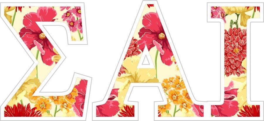 """Sigma Alpha Iota Floral Greek Letter Sticker - 2.5"""" Tall"""