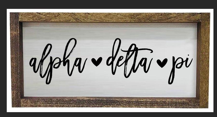 Alpha Delta Pi Script Wooden Signs