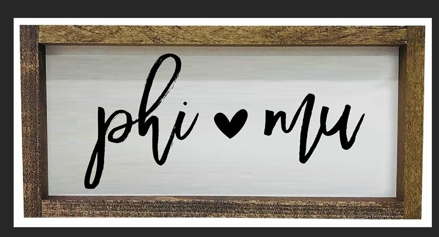 Phi Mu Script Wooden Signs