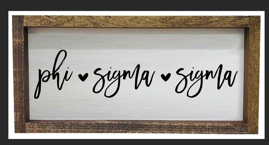 Phi Sigma Sigma Script Wooden Signs