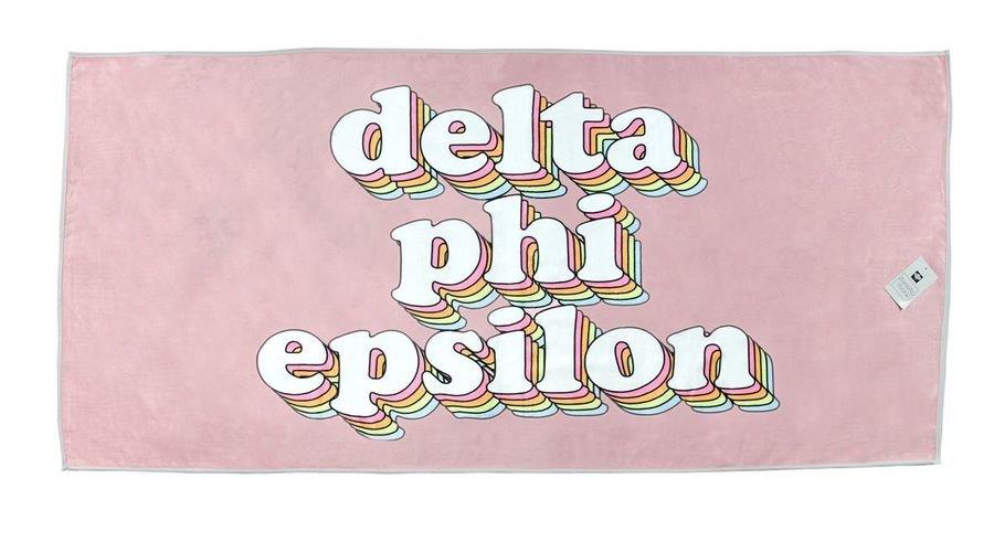 Delta Phi Epsilon Plush Retro Beach Towel