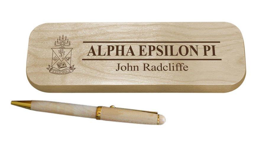 Alpha Epsilon Pi Maple Wood Pen Set
