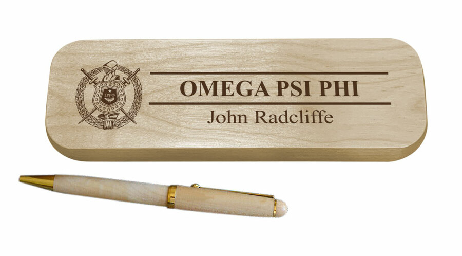 Omega Psi Phi Maple Wood Pen Set