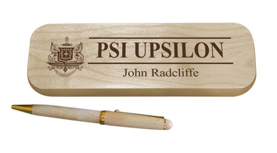 Psi Upsilon Maple Wood Pen Set