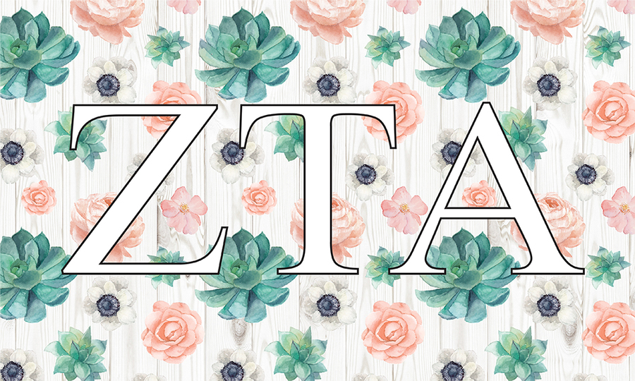 Zeta Tau Alpha New Succulent Flag