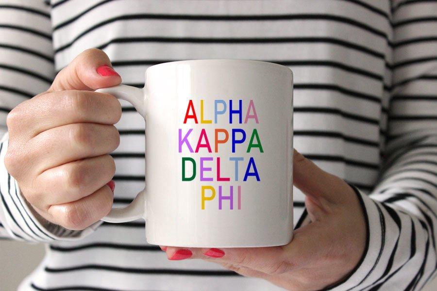 Alpha Kapa Delta Phi Rainbow Coffee Mug