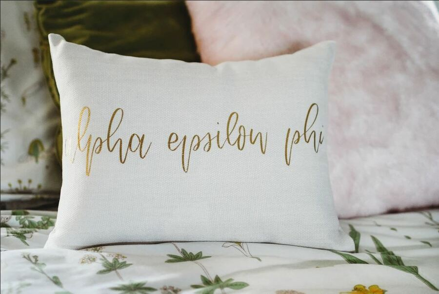 Alpha Epsilon Phi Gold Imprint Throw Pillow