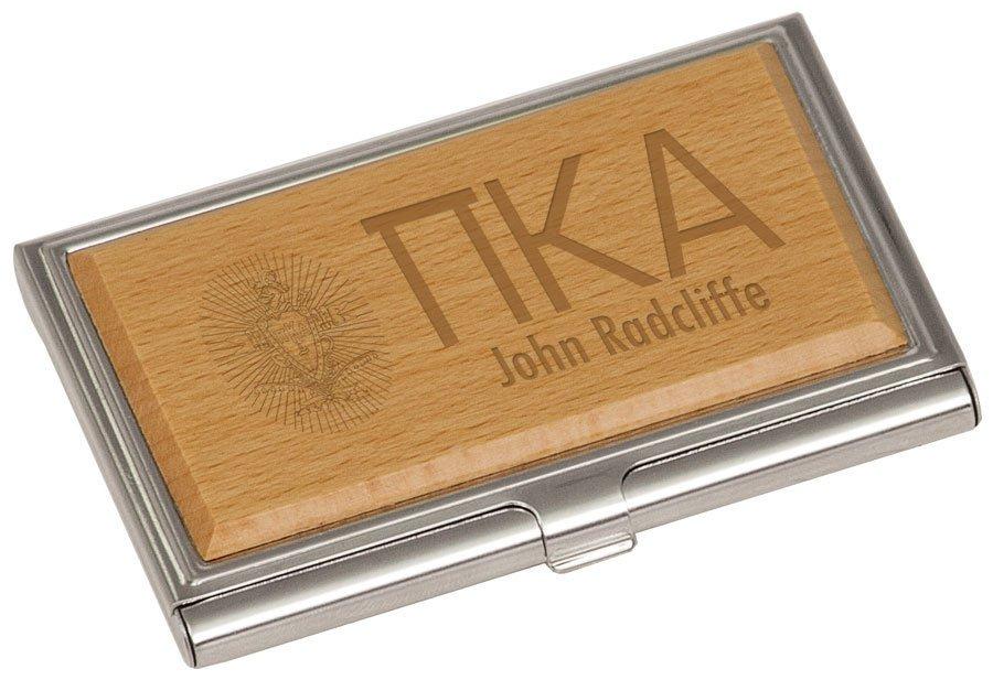 Pi Kappa Alpha Crest Wood Business Card Holder