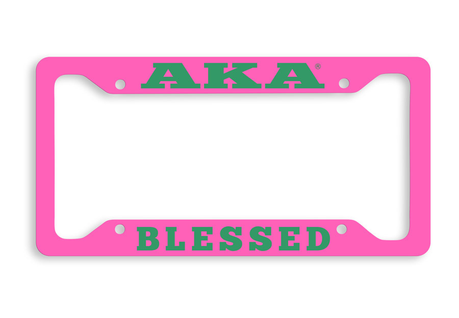 Alpha Kappa Alpha Blessed Metal License Plate Frame