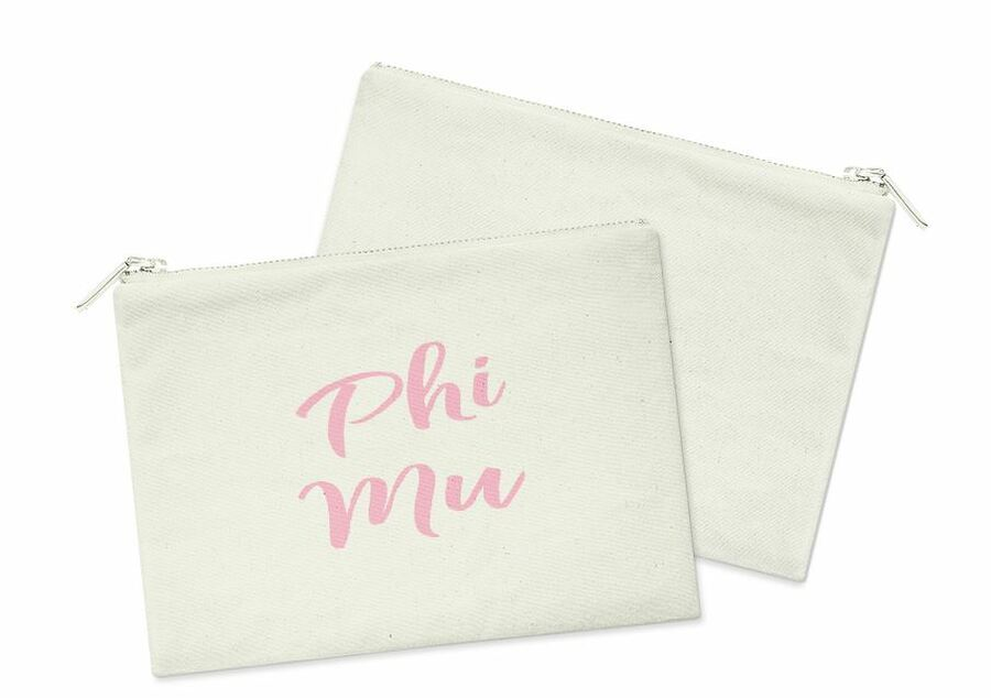 Phi Mu Script Cosmetic Bag