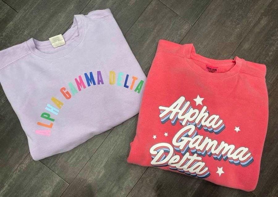 The New Super Savings - Alpha Gamma Delta Comfort Colors Crewneck Set - PURPLE AND WATERMELON
