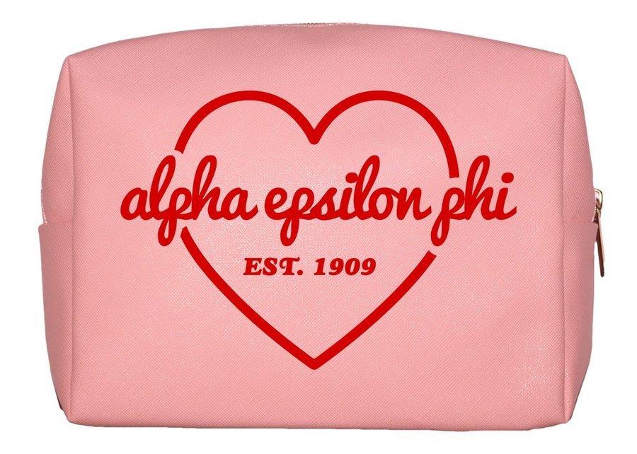 Alpha Epsilon Phi Pink with Red Heart Makeup Bag