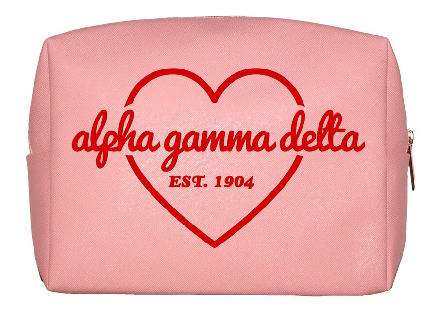 Alpha Gamma Delta Pink with Red Heart Makeup Bag
