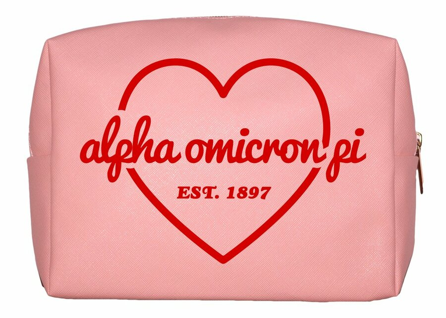 Alpha Omicron Pi Pink with Red Heart Makeup Bag