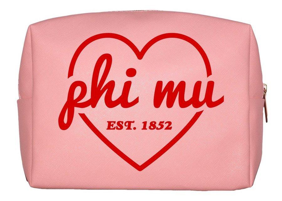 Phi Mu Pink with Red Heart Makeup Bag