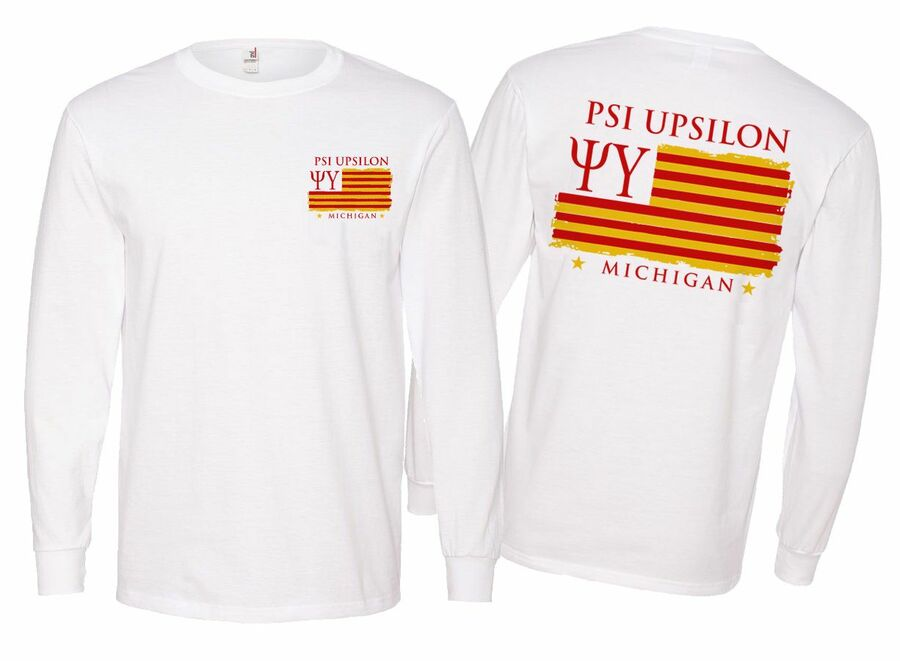 Psi Upsilon Stripes Long Sleeve T-shirt