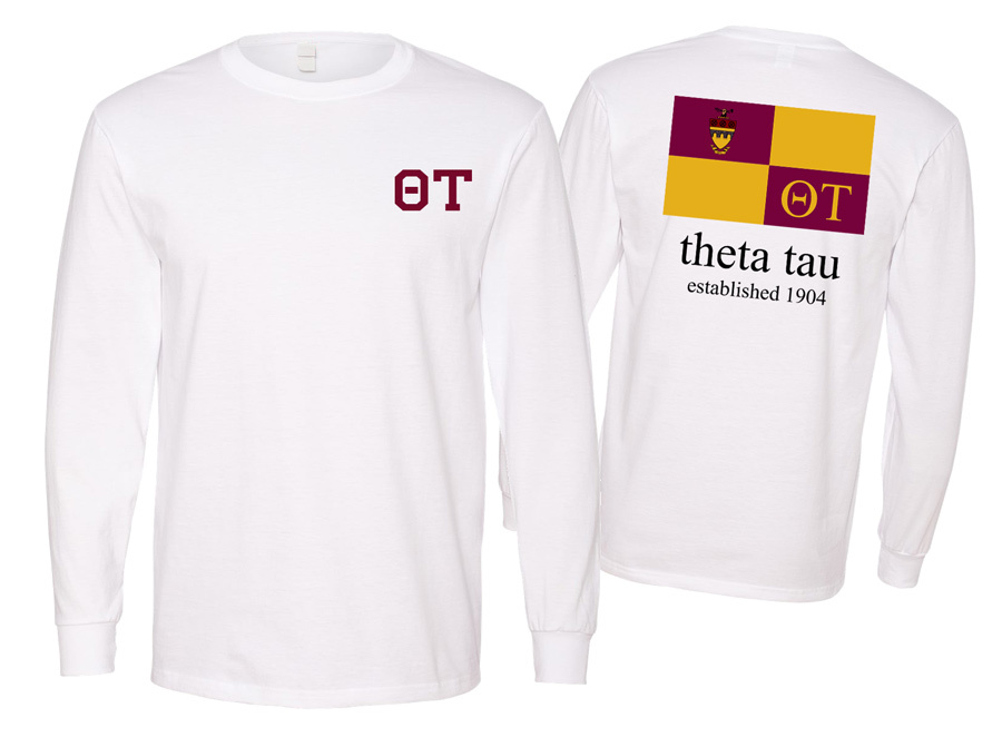Theta Tau Flag Long Sleeve T-shirt - Comfort Colors