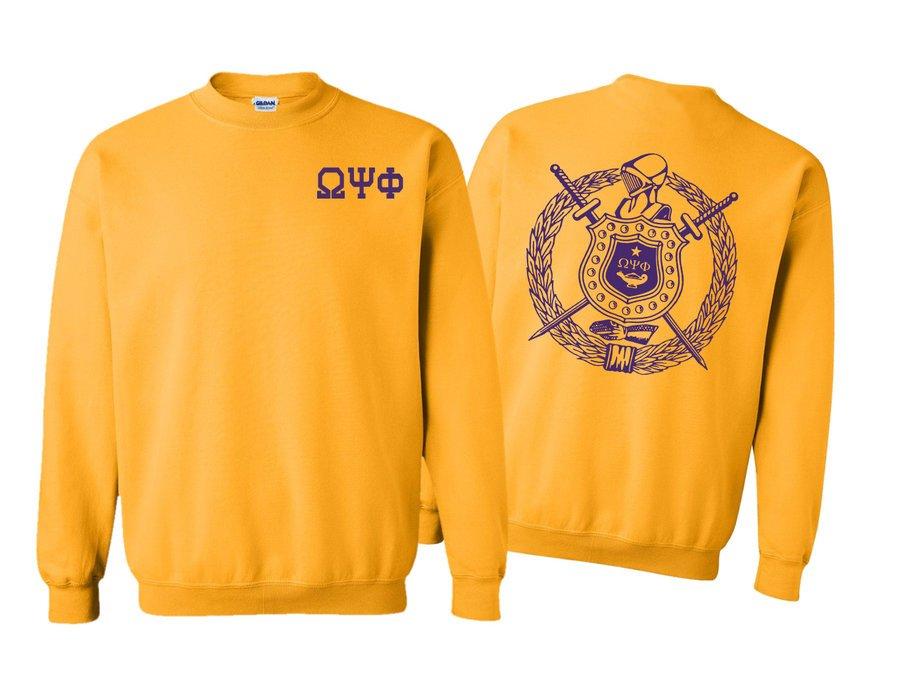Omega Psi Phi World Famous Crest - Shield Printed Crewneck Sweatshirt- $25!