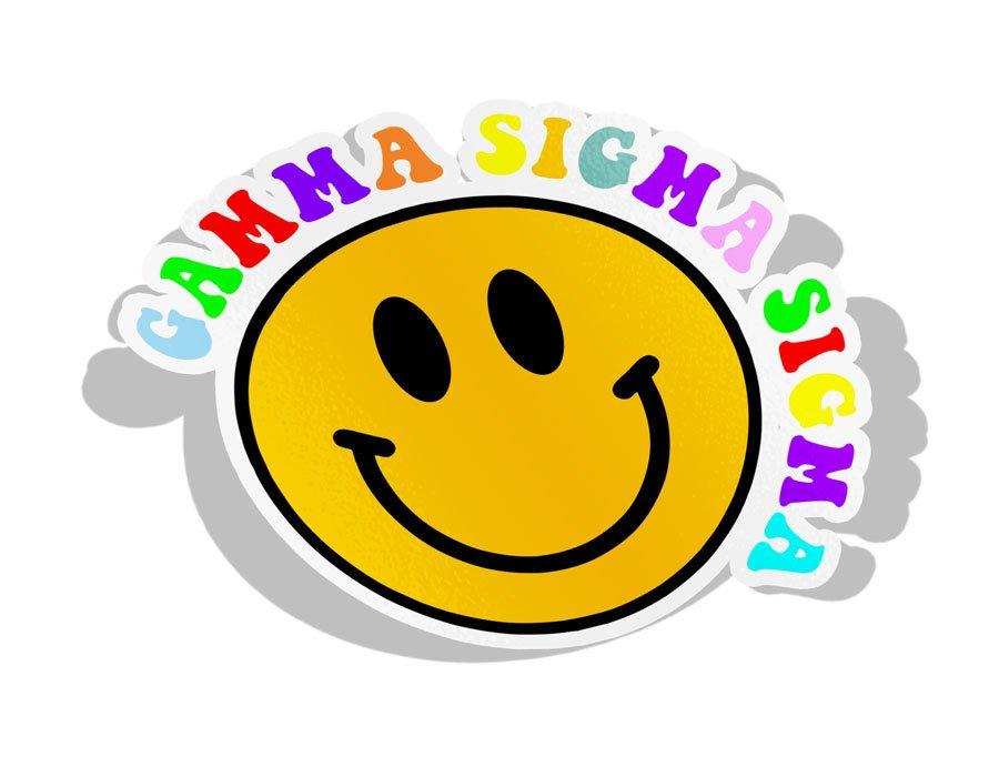 Gamma Sigma Sigma Smiley Face Decal Sticker