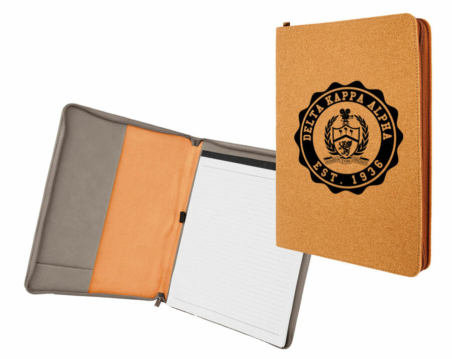 Delta Kappa Alpha Leatherette Zipper Portfolio with Notepad