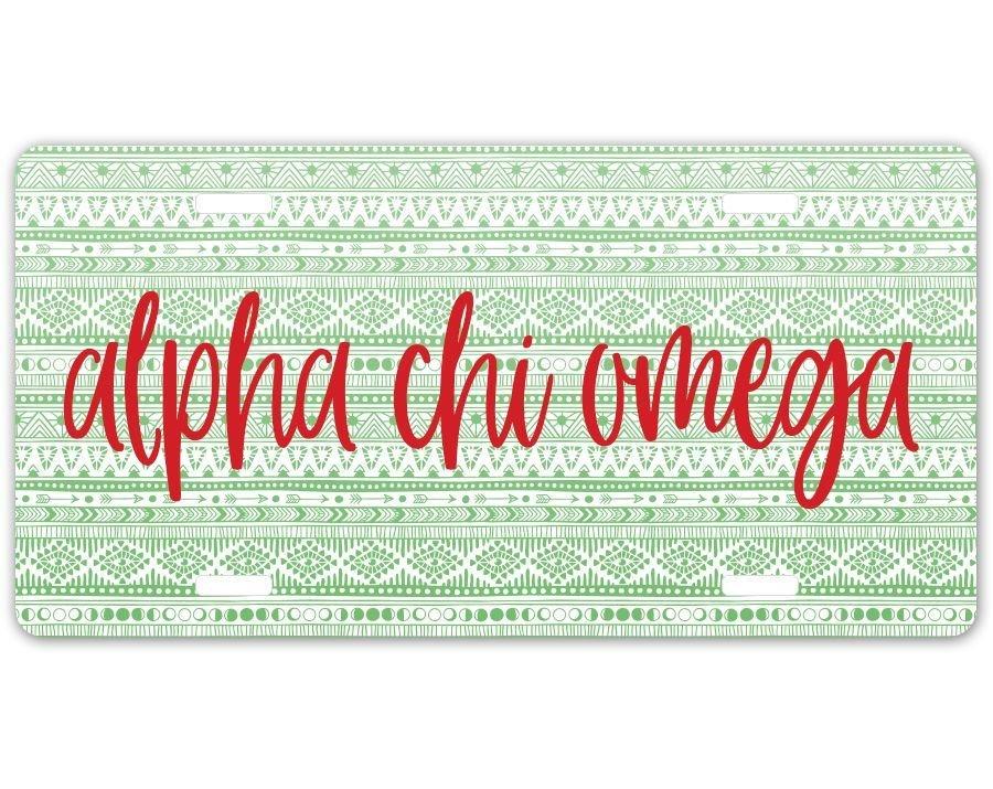 Alpha Chi Omega Aztec License Plate