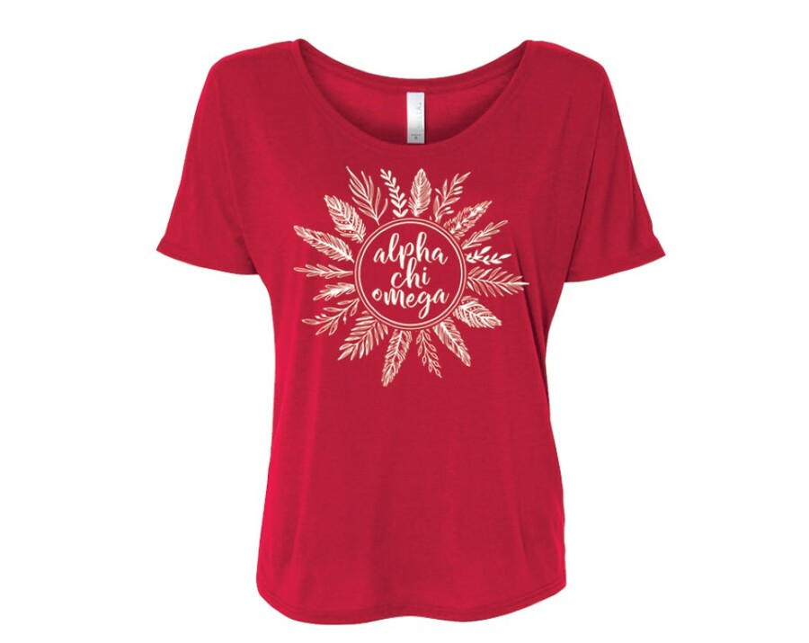 Alpha Chi Omega Feathers Flowy Tee