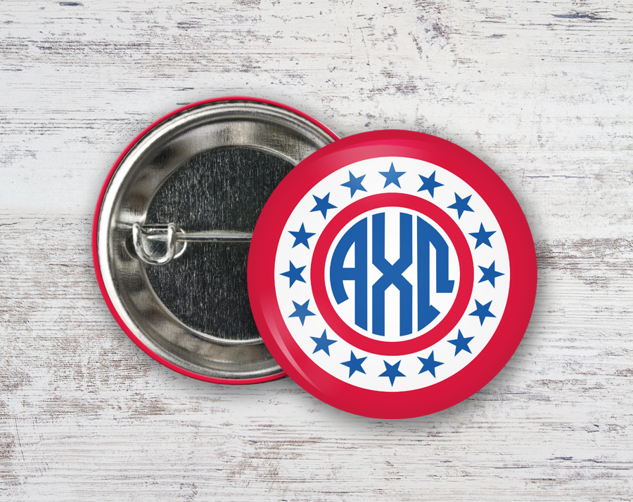 Alpha Chi Omega Stars Monogram Button