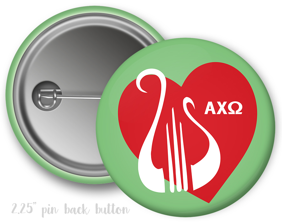 Alpha Chi Omega Heart Mascot Button