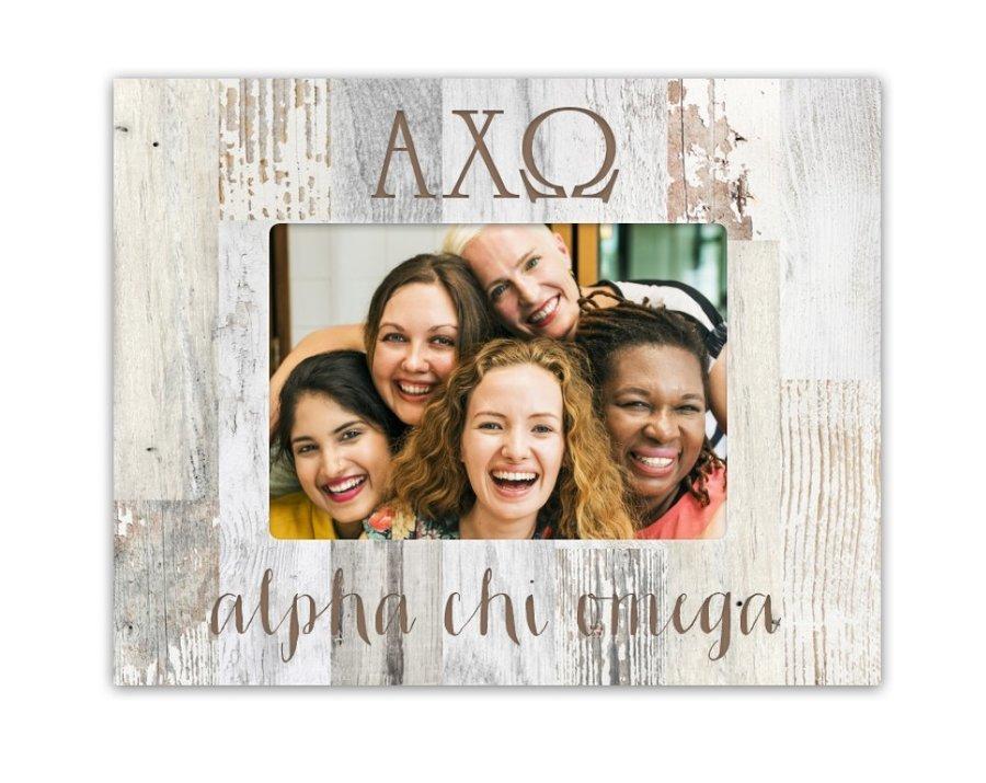 Alpha Chi Omega Letters Barnwood Picture Frame