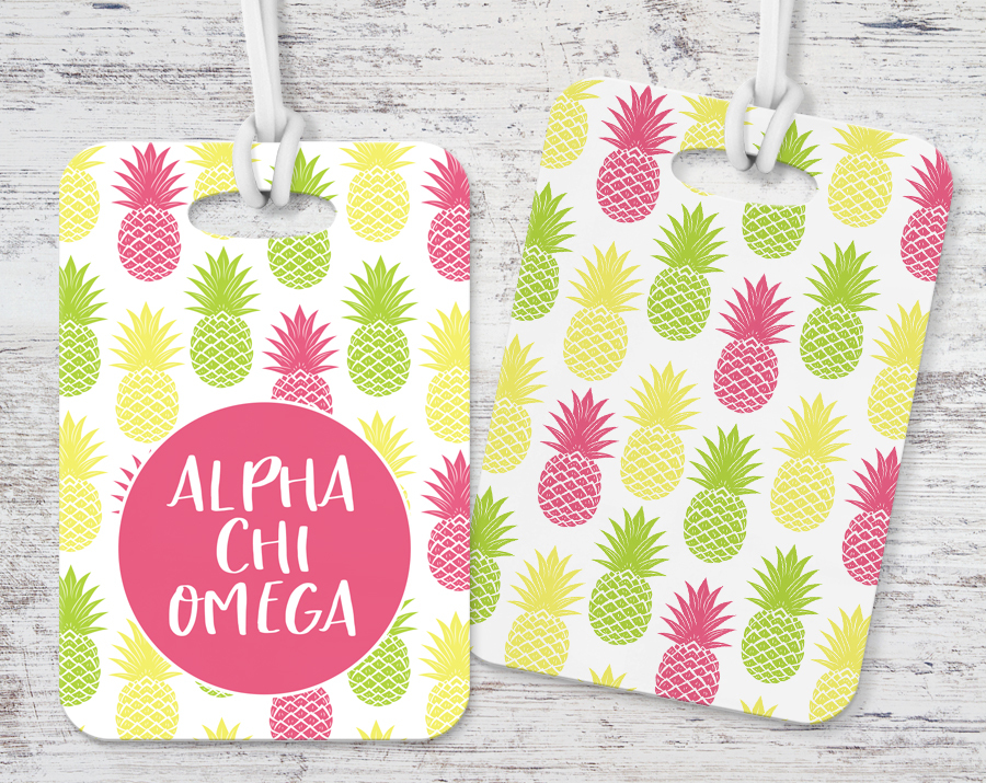 Alpha Chi Omega Pineapple Luggage Tag
