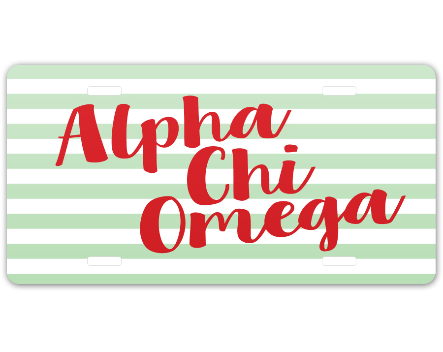 Alpha Chi Omega Striped License Plate