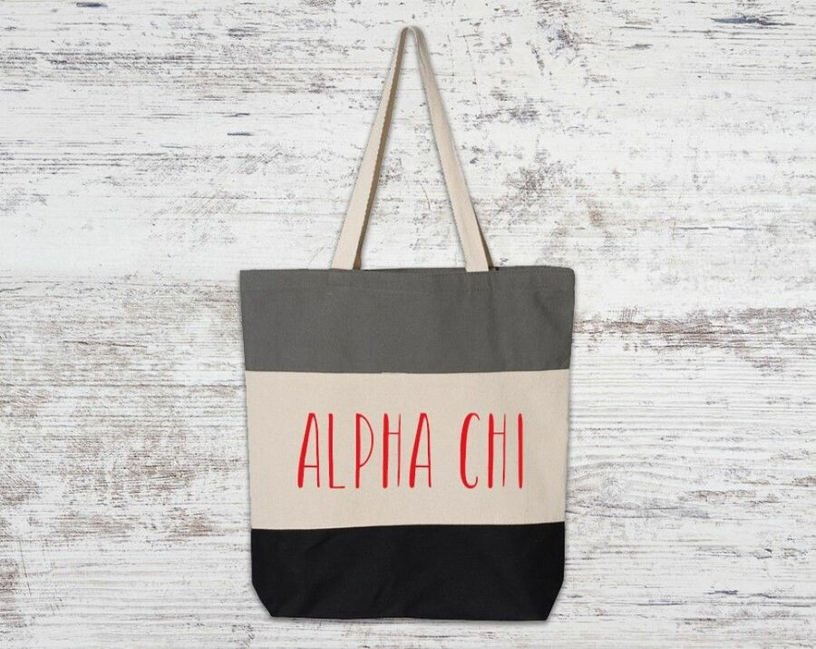 Alpha Chi Omega Tri Color Tote Bag